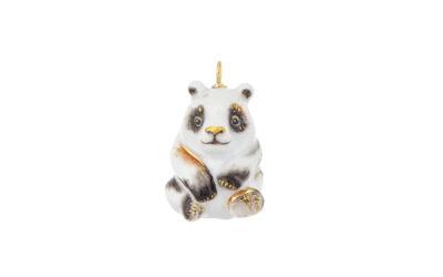 Anhänger Vollrelief Panda Schwarz/Rot/Gold