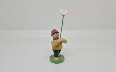 Junge mit Gänseblümchen